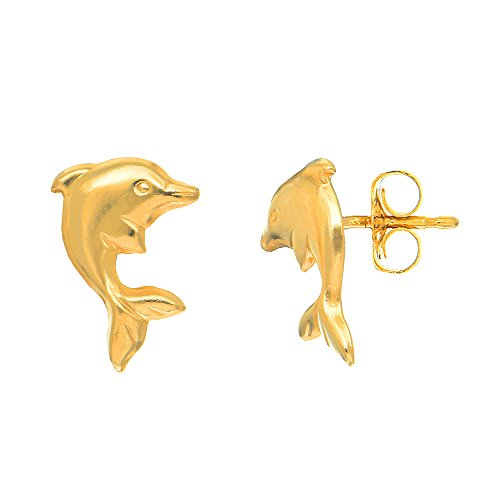 (JewelStop 14K Yellow Gold Jumping Shiny Dolphin Stud Earrings)