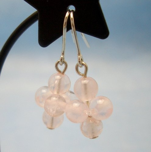 Rose Quartz Grape Type . Pierced Earring Gemstones . Titanium Hook