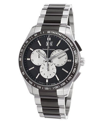Maurice Lacroix Mi1028-Ss002-331 Men's Miros Chrono Two-Tone Ss Black Dial Ss Watch