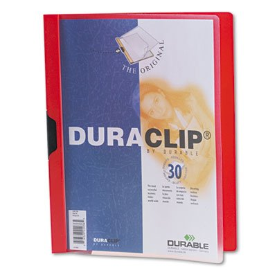 UPC 616528220365, DURABLE Vinyl DuraClip Report Cover with Clip, Letter, Holds 30 Pages, Clear/Red (220303)