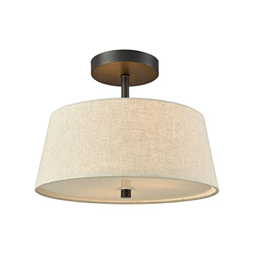 Elk Lighting CN600361 Morgan 2-Light Mount in Oil Rubbed Bronze with Beige Fabric Shade and White Glass Diffuse semi Flush