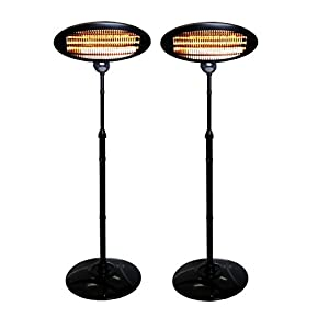 Hamble Kingavon Set Of 2 Heaters 2kW Freestanding Electric Quartz Garden Patio Indoor Outdoor Heaters – 3 Power Settings…