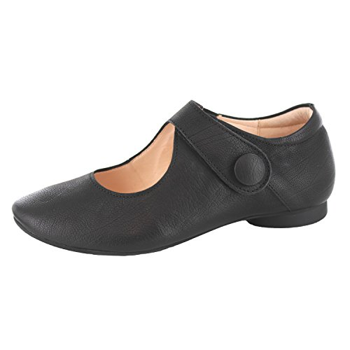 Think! Women's Guad_282280 Ankle Strap Ballet Flats Black 1ZB6n2