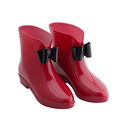 (Omgard Rain Boots for Women, Ladies Short Rubber Ankle Rain Boot Low Heel Waterproof Shoes with Jelly Bows Slip On Wide Calf Rainboots for Garden Outdoor Color Red Size 8.5)