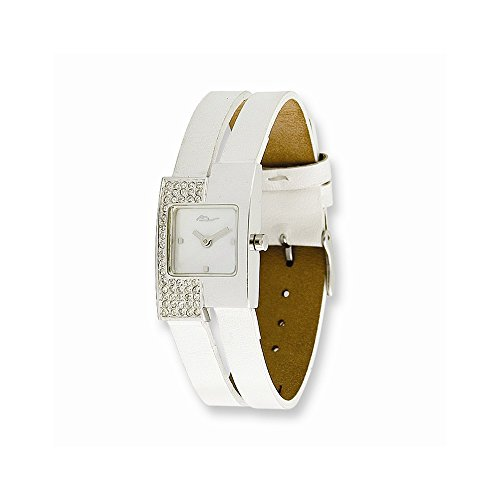 Moog Fashionista Offset Swarovski Case/White Leather Strap Watch (Quartz Set Wrist Watch)