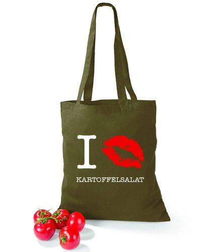 Artdiktat Baumwolltasche I kiss Kartoffelsalat olive green