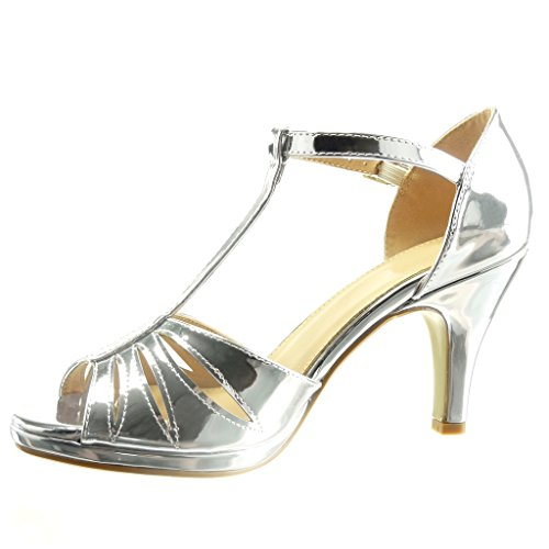 Angkorly - Scarpe da Moda sandali scarpe decollete cinturino sexy Peep-Toe donna tanga verniciato multi-briglia Tacco a cono tacco alto 8.5 CM - Argento