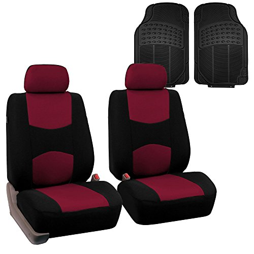 FH GROUP FH-FB050102 + F11306FRONT: Burgundy Flat Cloth Car Bucket Seat Covers and Black Front Vinyl Floor Mats- Fit Most Car, Truck, Suv, or Van by FH Group