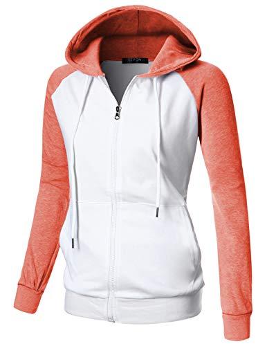 (GIVON Womens Comfortable Long Sleeve Lightweight Raglan Zip-up Hoodie with Kanga Pocket/DCF018-ORANGE-M)