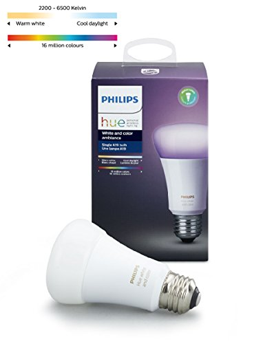 : Philips 464487 Hue White and Color Ambiance A19 60W Equivalent Dimmable LED Smart Bulb Compatible with Amazon Alexa, Apple Homekit, and Google Assistant