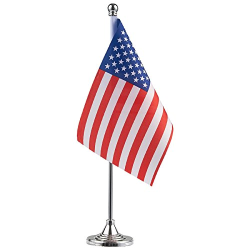 Indoor Flag Stand - Juvale US Flag with Stand - American Flag with Metal Base, USA Flag for Desk, Table Decoration, 8 x 5.5 Inches