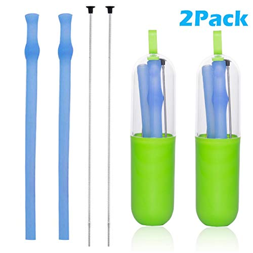 Price comparison product image Collapsible Reusable Silicone Straws 2 Pack,  Professional Foldable Food Grade Drinking Straws,  Portable Folding Straws with Carrying Case and Cleaning Brush (Transparent Blue 2 Pack)