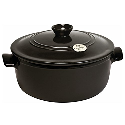Emile Henry France Flame Round Stewpot Dutch Oven, 5.5 quart, Charcoal