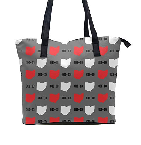 Women Tote Bag PU Leather Handbags Casual Ladies Shoulder Bags for Shopping, New Oh io State map pattern Gray