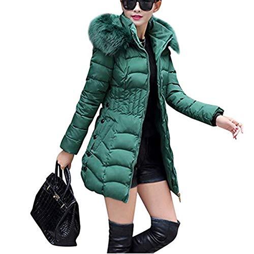 Fanessy Femme paisse Veste d'hiver Manteau de Duvert Col Fourrure Parka Chaud  Capuche Mi-Longue Blouson Noir Gris Vert Vert