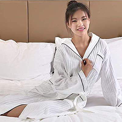 DALAI Cotton Herringbone Waffle Bathrobes Ladies Thin Section Japan and South Korea Special Star Hotel Upscale (Color : White, Size : L)