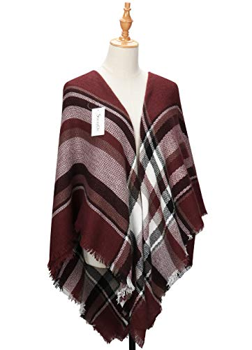 Oversized Plaid Scarves Blanket Scarf Cashmere-Shawl Women's Winter Tartan Wrap Warm Tassels Pashmina