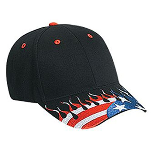 (OTTO United States Flag Flame Pattern Visor Brushed Cotton Twill Low Profile Style Caps)