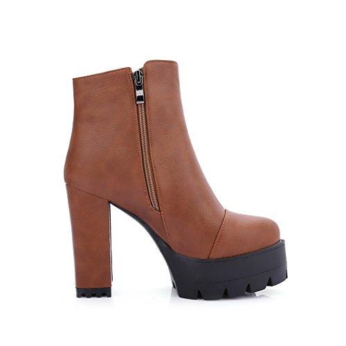 AgooLar Damen Rein Hoher Absatz Schließen Zehe Mattglasbirne Reißverschluss Stiefel, Rot, 39