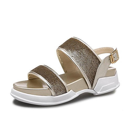 Amoonyfashion Donna Materiale Morbido Fibbia Open Toe Tacchi Bassi Sandali Solidi Oro