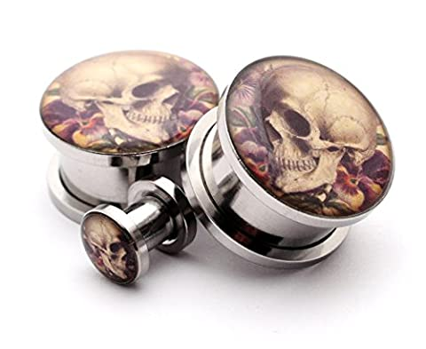 Screw on Plugs - Vintage Skull Style 6 Picture Plugs - Sold As a Pair (0g (8mm)) (Skull 0 Gauges)