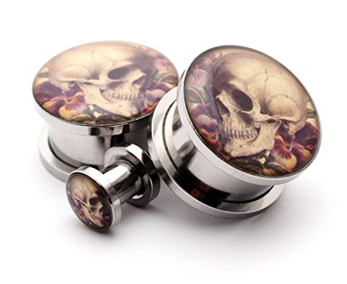 Screw on Plugs - Vintage Skull Style 6 Picture Plugs - Sold As a Pair (3/4
