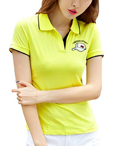 Heaven Days(ヘブンデイズ) ポロシャツ ゴルフシャツ 刺繍 バイカラー スキッパー 無地 シンプル 半袖 レディース 1707G0063
