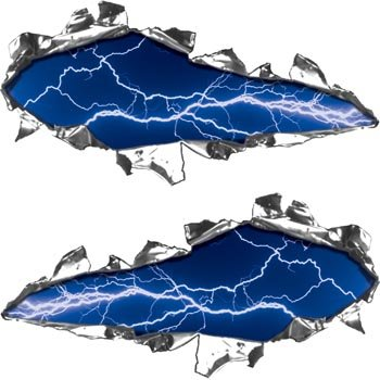 Ripped Torn Metal Tear REFLECTIVE Decals Lightning Blue