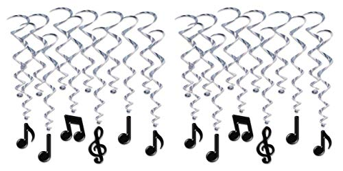 Music Note Decorations (Beistle 53409 Musical Notes Whirls, 24 Piece, 17½