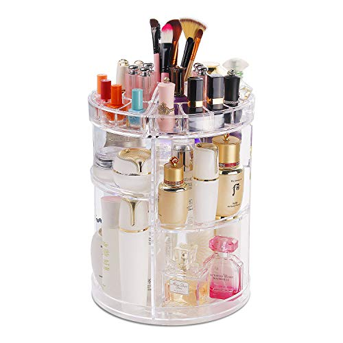 (COOLBEAR Makeup Organizer,360 Degree Rotating Adjustable Acrylic Cosmetic Storage Display Case with 6 Layers Large Capacity, Fits Creams, Makeup Brushes, Lipsticks and More, Clear)