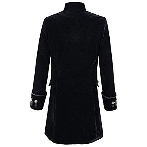 Gothic Moderna Girocollo Steampunk Cappotto Uomo Tuxedo Lunga Haidean Da Uniforme 2 Schwarz Casual Giacca gWFcnnI1