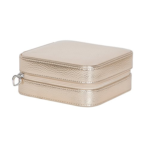- Luna Travel Metallic Faux Leather Jewelry Case Color Gold