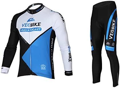 Asvert Bicicleta Juego de Ropa para Camiseta de Manga Larga Camiseta Pantalón Transpirable de Secado rápido Hombres Manga Larga Ciclismo Jersey Set ...