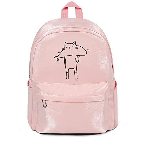 (Cat Love Delicious Fish Bag Purse Casual Nylon Packable School Backpack Bag Purse )