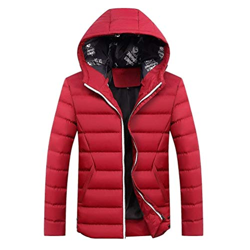 Adelina Men's Winter Leisure Plus Size Thicken Hooded Padded Slim Coat Chaude Fit Warm Rme Waterproof Windproof Padded Quilted Jacket Outwear Parka Down Coat Rot