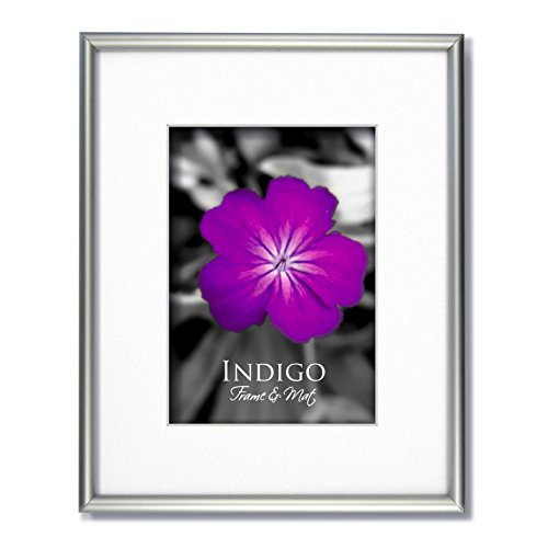 One 16x20 Frosted Silver Aluminum Metal Picture Frame and Glass with Single White Mat for 12x16.