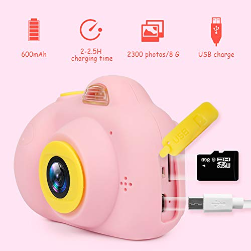 "Kids Camera Gifts for Girls 1080P HD,Mini Rechargeable Children Shockproof Digital Front and Rear Selfie Camera Child Camcorder for 3-9 Year Old Kids Gifts waterproof 2.0"" LCD Screen (Pink) by LeaderPro (Image #2)"
