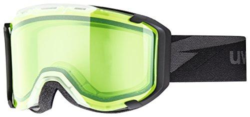 Uvex Snow Strike German Made Goggles, Black Frame/Green/Clear Lens, Small/Medium