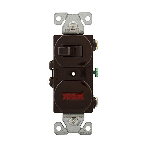 (EATON Wiring 277B 15 Amp Single Pole Combination Toggle Switch and Pilot Light, Brown)