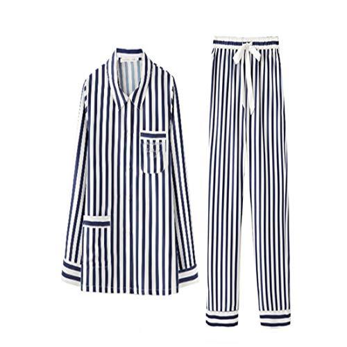 In Pigiama Seta Due A Loveni Set Maniche Casual Righe s Donna Abbigliamento Lunghe Notte Da Camicetta Pantaloni Pezzi wSf1ftq