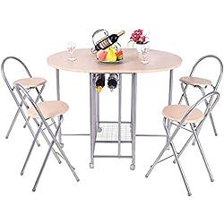 Dining Set FurnitureR 5 Pcs Stylish Design Folding Dining Table Set 4 Person Butterfly Dinette Home Kitchen Restauant Breakfast Table Chair Set Beige