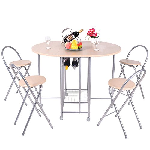 Dining Set FurnitureR 5 Pcs Stylish Design Folding Dining Table Set 4 Person Butterfly Dinette Home Kitchen Restauant Breakfast Table Chair Set Beige