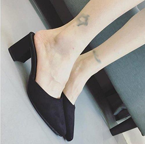 SCLOTHS Frauen Flip Flops High heel Baotou Dick mit Wies Schwarz