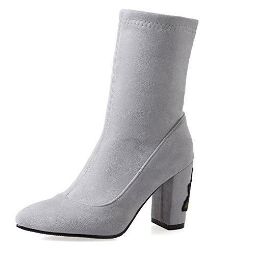 Oaleen Bottines femme talon bloc fleurs broderie suède élastique chaussures pointues hiver Gris suède sDkDS