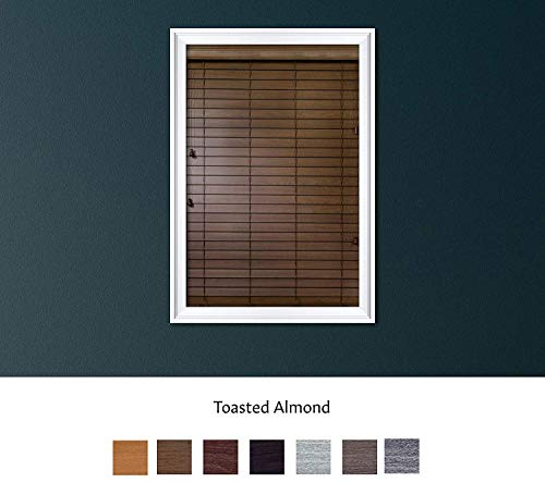 Luxr Blinds Custom Made Premium Faux Wood Horizontal Blinds W/Easy Inside Mount & Outside Mount Wood Blind – Size: 70X46 Inch & Wooden Color: Toasted Almond