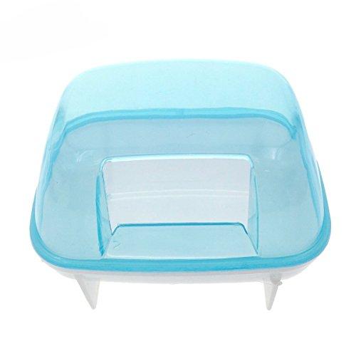 (Saim 10x7x7cm Hamster Bathroom, Small Pets Hamster Bathroom Bath Sand Room Sauna Toilet Blue White)