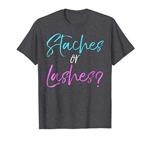 - Mens Staches or Lashes? Shirt Boy Girl Pink Blue Gender Reveal XL Dark Heather