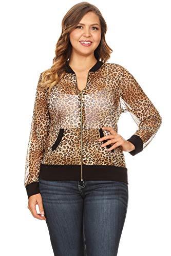 Bubble B Women's Plus Size Animal Print Sheer Mesh Jacket Black/Brown Multi 3X