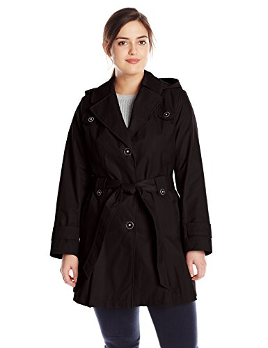 Via Spiga Women's Plus-Size Single-Breasted Belted Trench Coat with Hood, Black, 2X