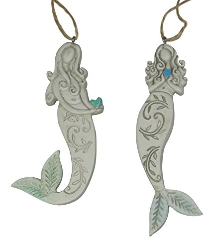 Mermaids Holding Hearts Embossed Christmas Holiday Ornaments Set of 2